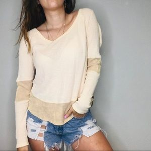Free People cream colorblock waffle knit thermal